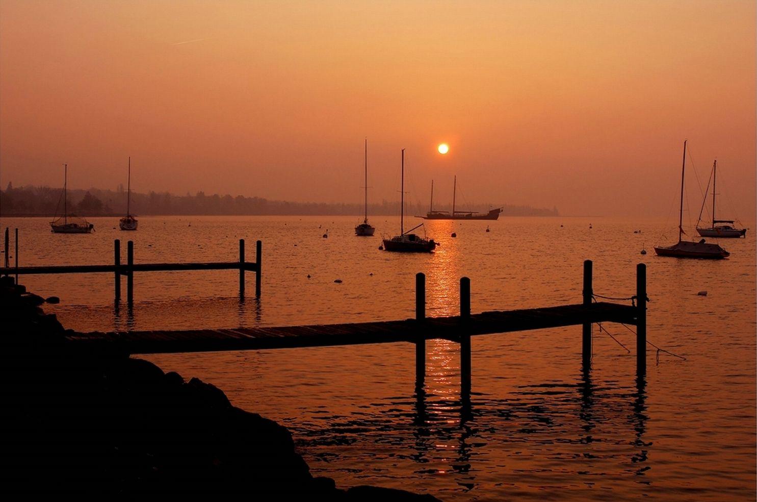 Coucher de soleil sur lac Leman